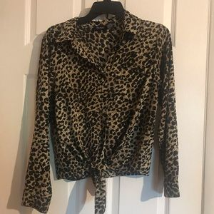 Leopard Tie Front Button Up
